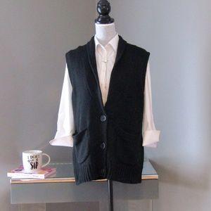 NEW Merona Black Sweater Vest Sleeveless Cardigan